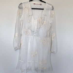 Chelsea & Violet Cream Embroidered Dress